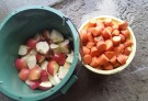 ニンジンとリンゴは小さく切ります
